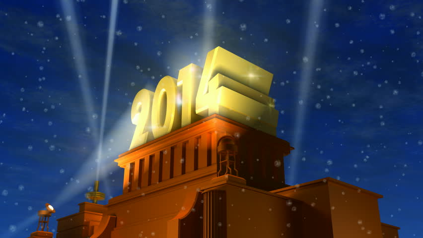Creative New Year 2014 celebration concept: shiny golden 2014 text on pedestal at night with snow in cinema style - HD stock footage clip