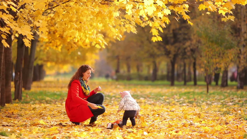 Mother and baby playing in a beautiful autumn park - HD stock footage clip
