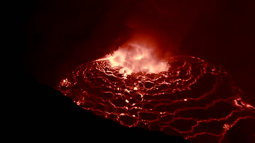 The spectacular Nyiragongo volcano erupts at night in the Democratic Republic of Congo.