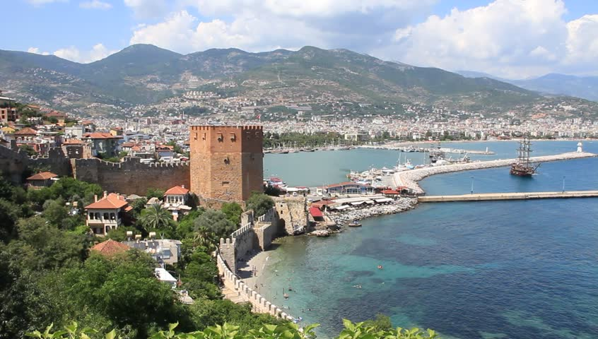 Sea And Fortress In Alanya, Turkey Stock Footage Video ...