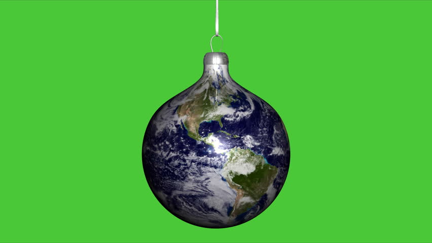Earth Globe Christmas Ball on green chroma key background - HD stock footage clip