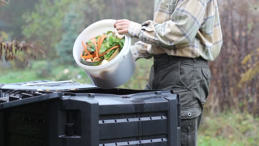 Compost - man throws vegetable and fruits peelings into compost bin.