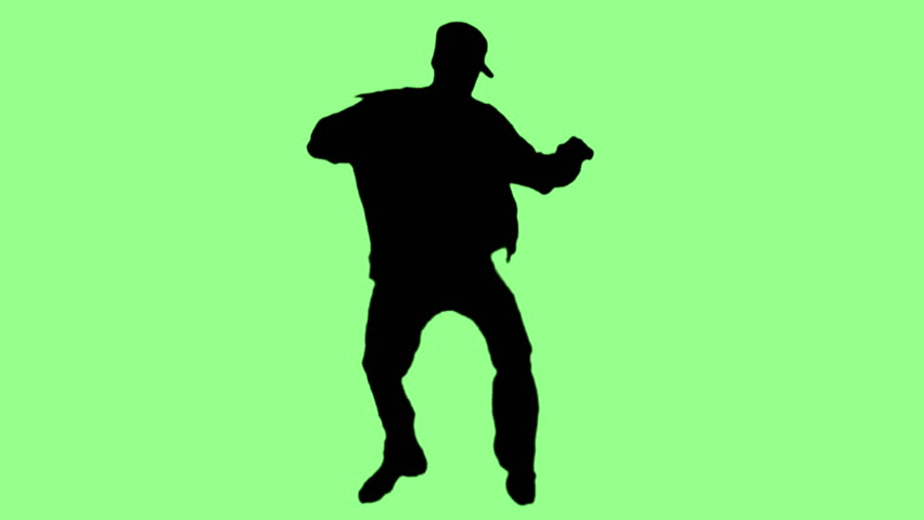 Hip-hop dancing silhouettes on colorful backgrounds