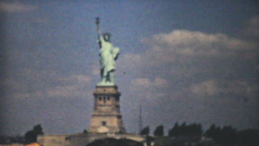 NEW YORK, NEW YORK, 1940: Visiting the Statue of Liberty in New York while on summer holidays in 1940.