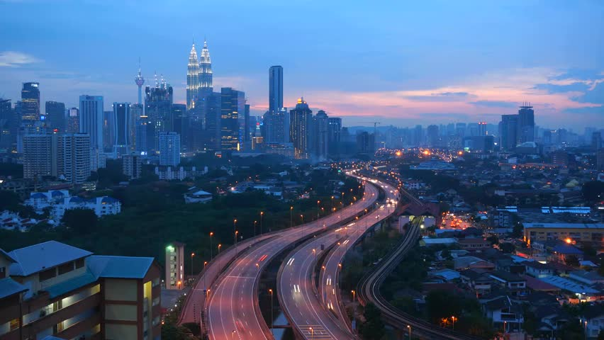 Time lapse busy light trail traffic of Kuala Lumpur, Malaysia - HD stock footage clip