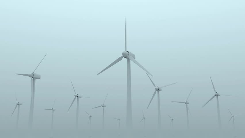 Animation of Modern Wind Turbines on Dense Fog - HD stock video clip