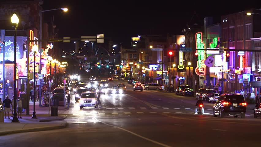 Las Vegas Strip Night Hd Video Clip 582382: Time-Lapse Of The Downtown Strip In Nashville At Night