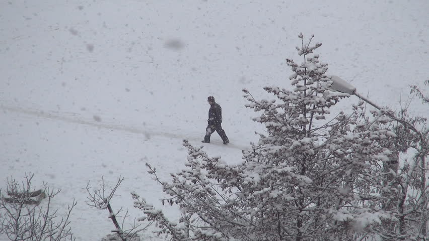 Snowing, Snow Fall, Man Walking on a Path, Christmas Winter View, People - HD stock footage clip