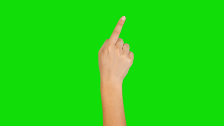 16 Hand gestures. Touchscreen. Female hand showing multitouch gestures in green screen. MORE OPTIONS IN MY PORTFOLIO.
