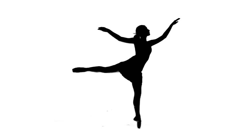 Silhouette series. Ballet dancing woman - HD stock footage clip