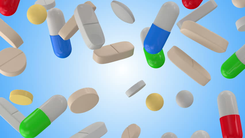 Falling Colorful Medical Pills on blue background. HQ Seamless Looping Animation