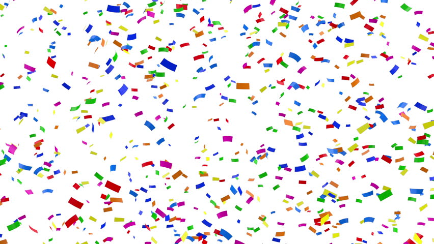 Falling Colorful Confetti on white background. HQ Seamless Looping Animation with Alpha Channel