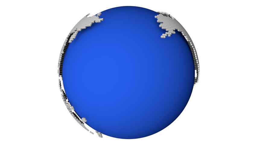 Animated globe with a dotted world map with alpha channel and also loopable