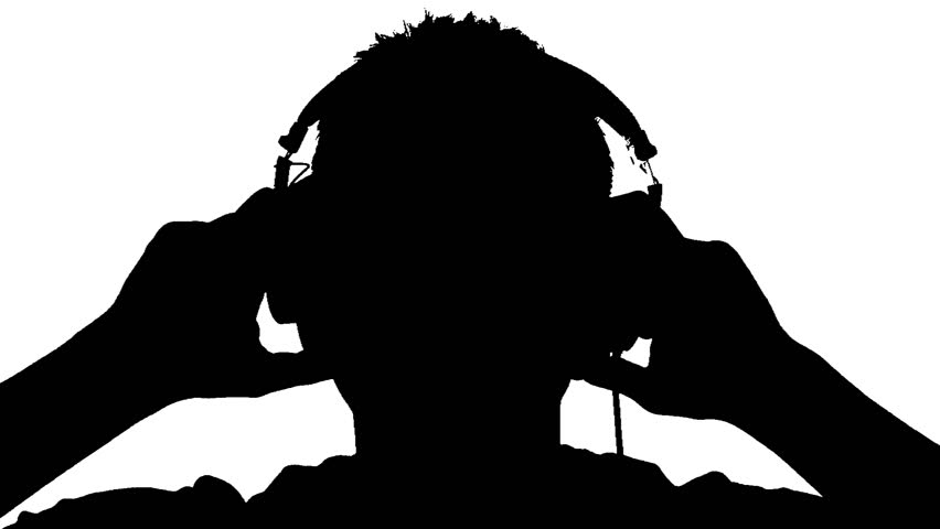 silhouette of a man with headphones on white background