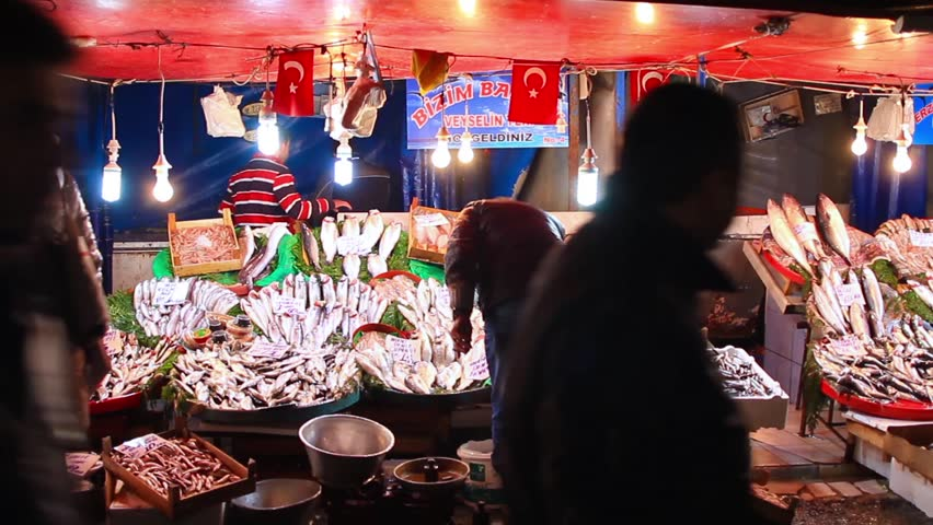 ISTANBUL - NOVEMBER, 12: Open fish market at Karakoy. Every district in Turkey has its own open market where people can choose and buy fresh food. Street market winter