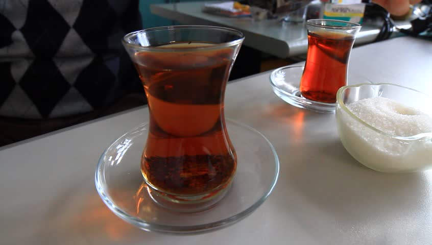 Delicious Tea. Black tea served in a small glass is a tradition in Turkey. Perfect to take a break and talk with a friend.