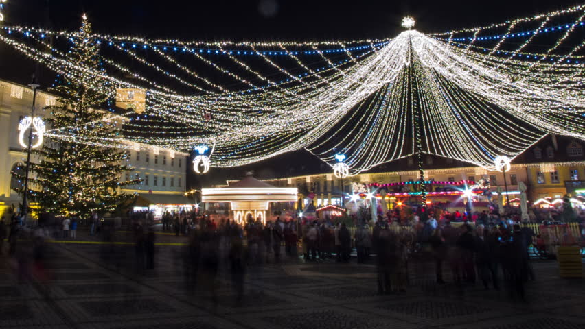 Sibiu, Transylvania Christmas fair time lapse fish eye corrected distortion  - HD stock footage clip