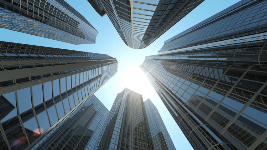 Animation of Modern Corporate Buildings with Sun Light. HQ Video Clip