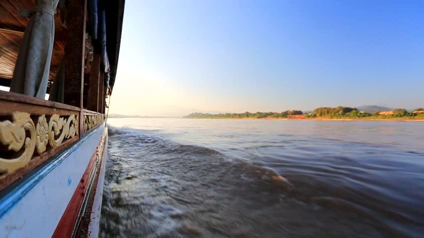 Mekong river, boat cruise. Laos, Huai Xai area.