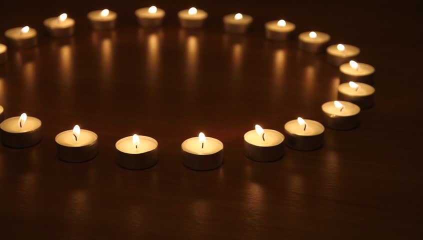 circle of candles in spa salon