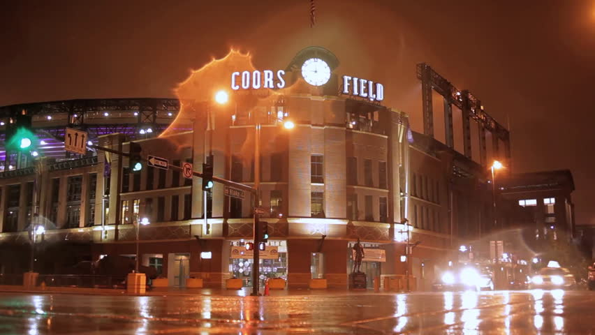 Denver, Colorado - May, 2012 - Timelapse of Coors Field in the rain with traffic streaking by.