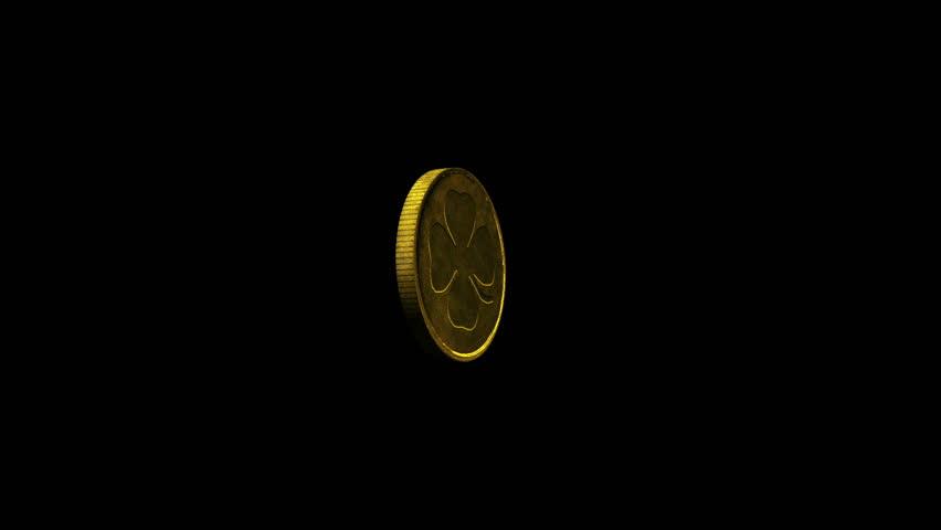 Good Luck Coin Spinning (HD) + Alpha Channel Golden Coin