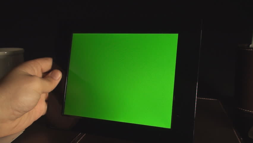 Male Hand Putting Down Green Screen Photo Frame Point Of View-Shot
