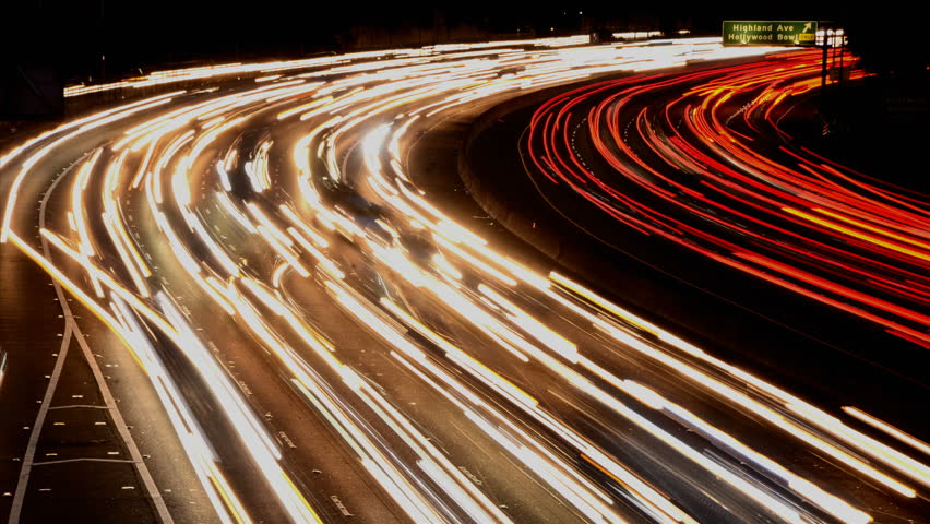 Time Lapse of Busy Freeway Traffic at Night