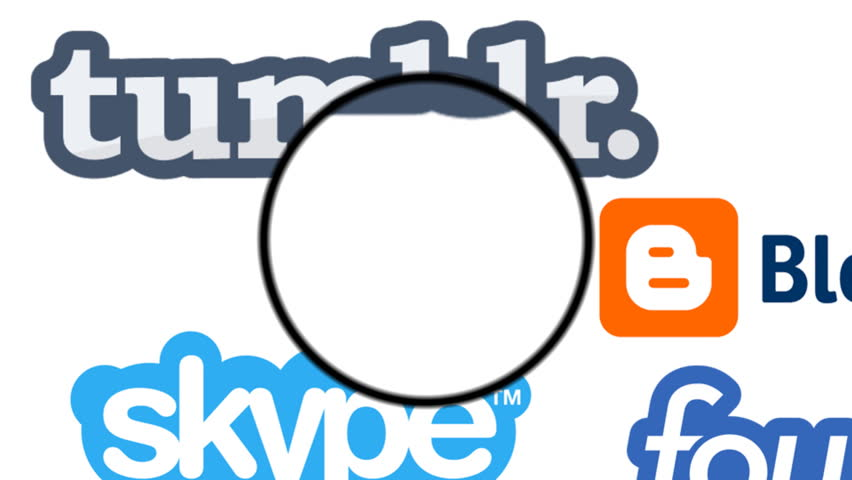 PARIS, FRANCE - CIRCA MARCH, 2014:Animation of popular social media platforms with magnifying glass  circa 2014 with their different logos looping on white background