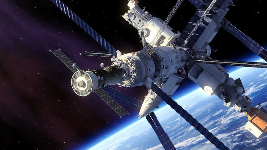 Docking Of Spacecraft And Space Station. 3D Animation.