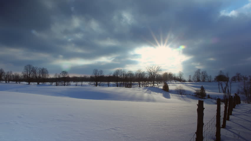 Snowy fields Timelapse.