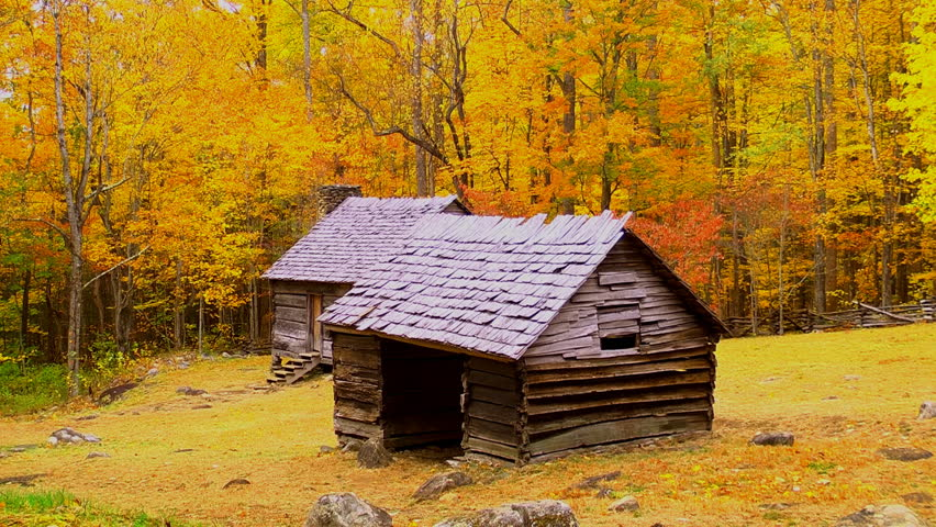 Two Historic Cabins Set In Autumn In The Appalachian