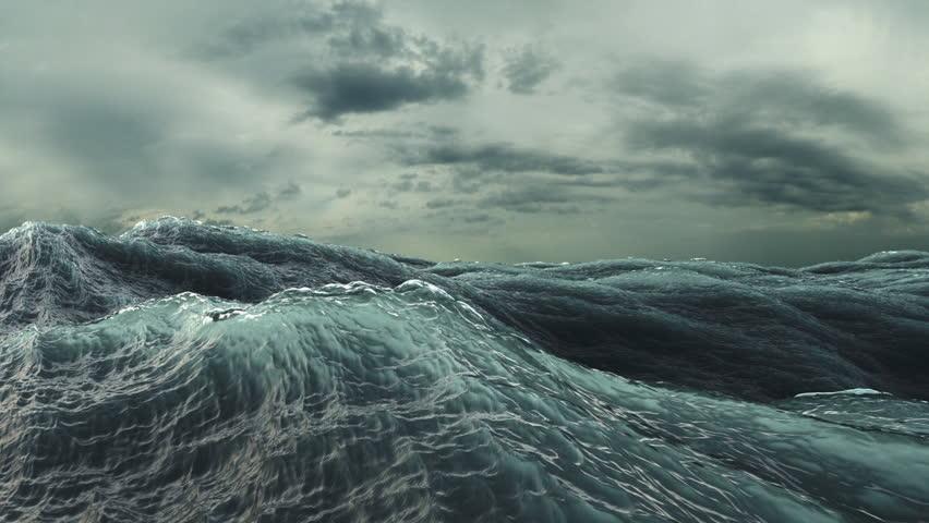 Rough Sea seamless loop. big waves in a stormy ocean. Camera goes underwater (HD, 1920x1080, 1080p, hidef, high definition)