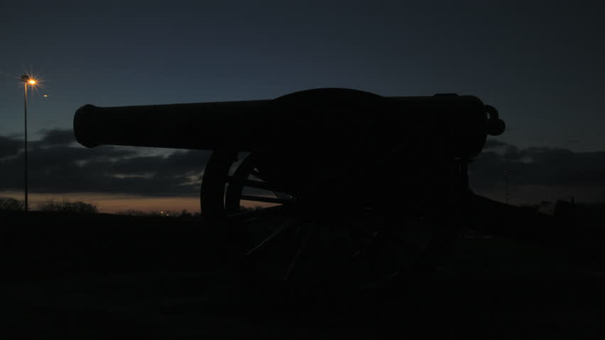 Vicksburg, Mississippi - February, 2013 - Sunrise time-lapse of a cannon in National Military Park.