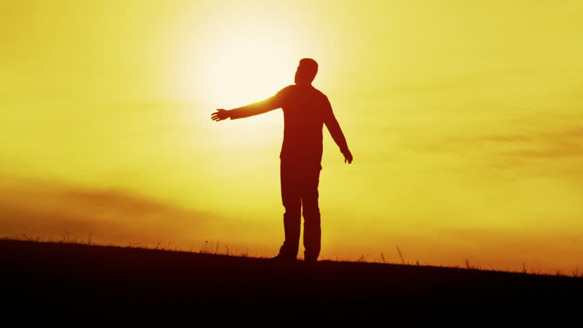 Man Victory Pose Worshiping Silhouette Sun Sunset Faith