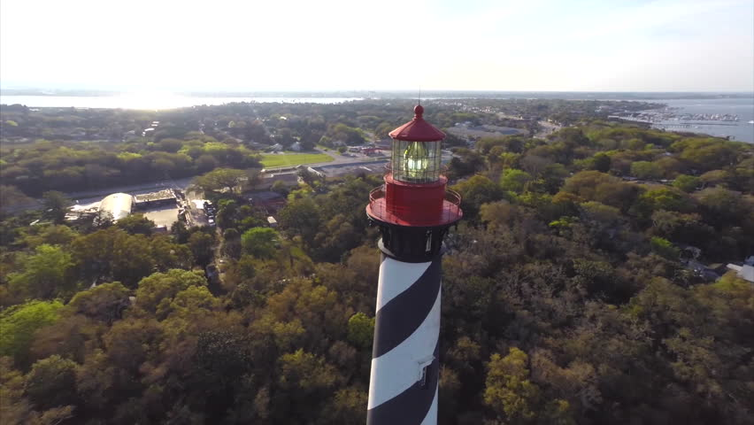 Aerial video of a lighthouse in St Augustine - HD stock footage clip