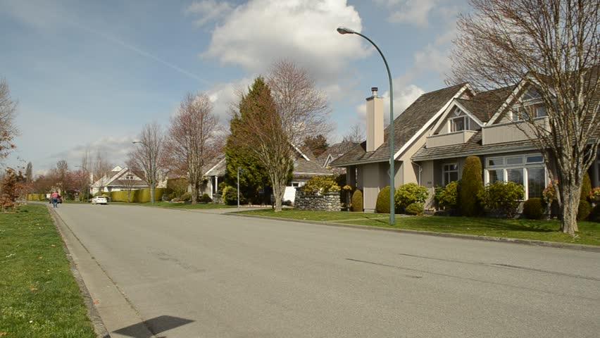 Suburban Street In A Wealthy Neighborhood Stock Footage ...