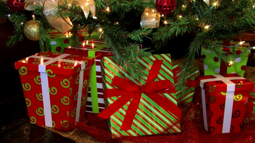 Christmas Gifts And Presents Under A Christmas Tree. Pan ...