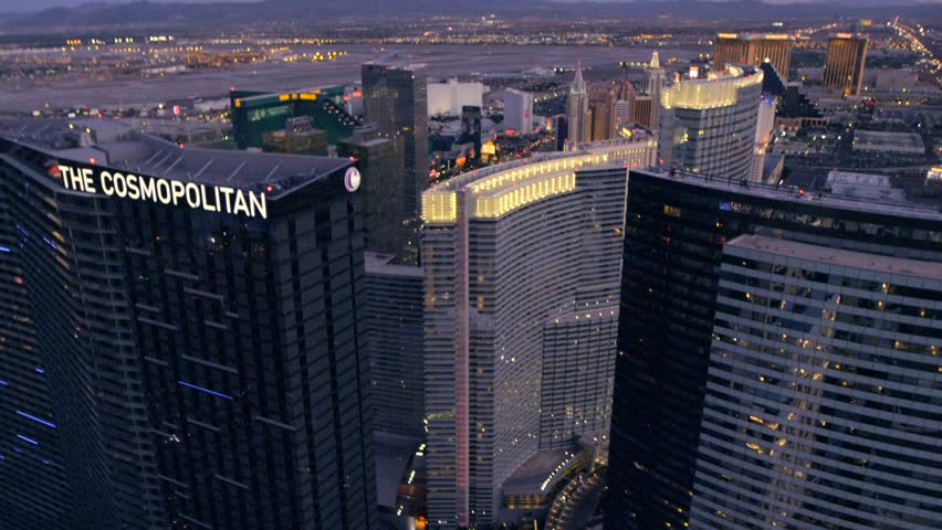 LAS VEGAS, NEVADA, CIRCA 2013 - Aerial view of The Cosmopolitan in Las Vegas, Nevada. - HD stock video clip