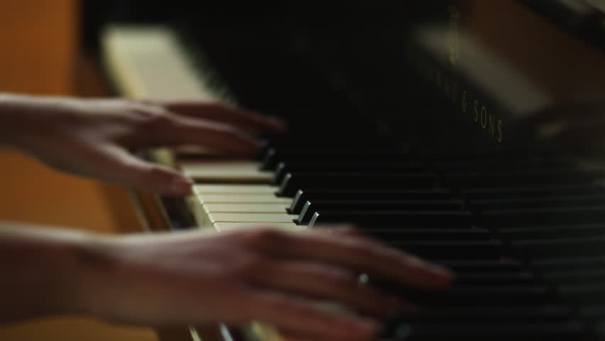Close Up Woman's hands playing piano - HD stock video clip