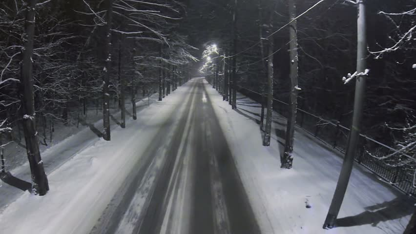 Lanterns light up empty road among frosted trees during snowfall in forest at winter night. Aerial view - HD stock footage clip