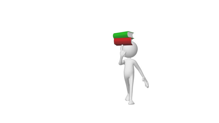 3d Man holding books and walking up to the camera  - HD stock video clip