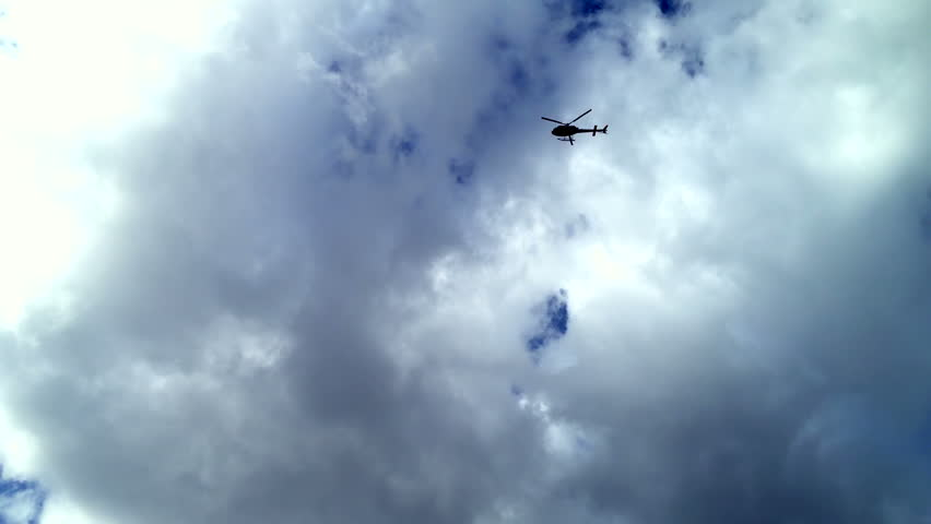 A helicopter in the skies above London.
