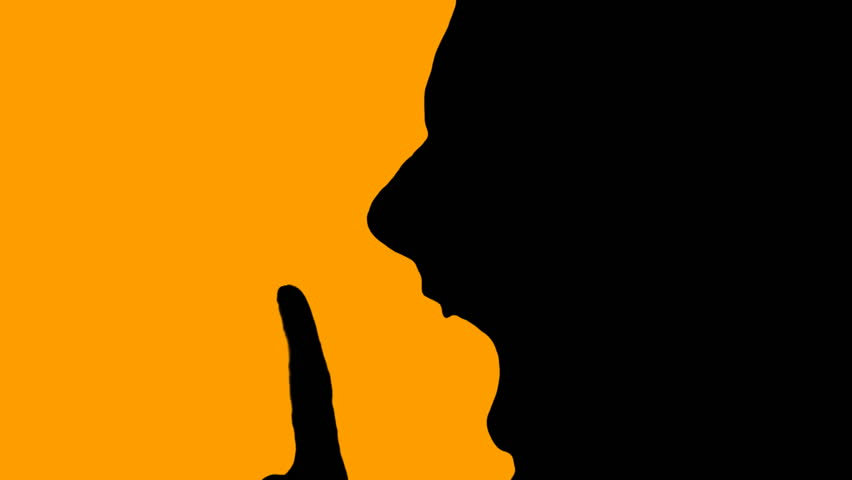 man screams with finger silhouette - orange - HD stock video clip