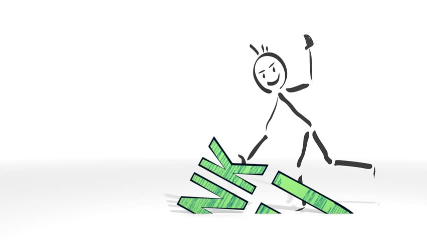 simple stick man graps thank you sign from ground hd 1080p animation with white background stock
