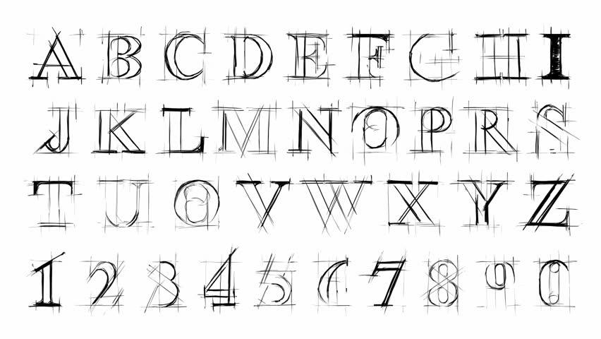 Falling Letter Figures. Letters ABC. Alphabet. Stock