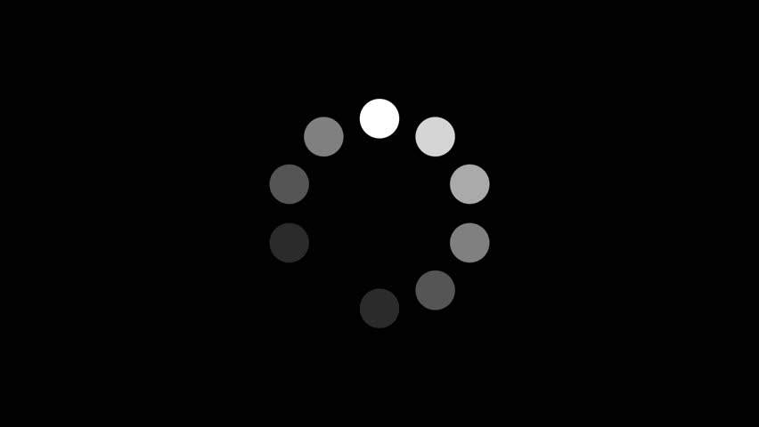 Loading Circle w/ Alpha (24fps). Ten animated dots fading in and out in sequence creating a rotating effect. Rendered large with an alpha channel to layer on top of other elements and footage.