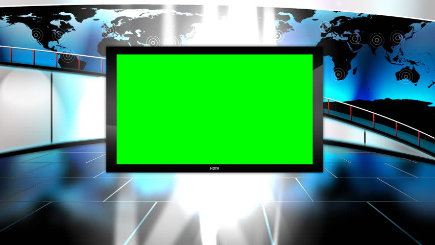 The Situation Room. Virtual News set with large walkway in the background.  It is kind of hard to see in the preview, but the map is animated with radio waves over the major cities of the world. - HD stock video clip