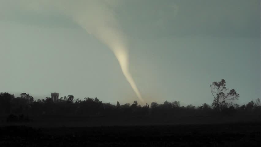 Tornado hits small town - HD stock video clip