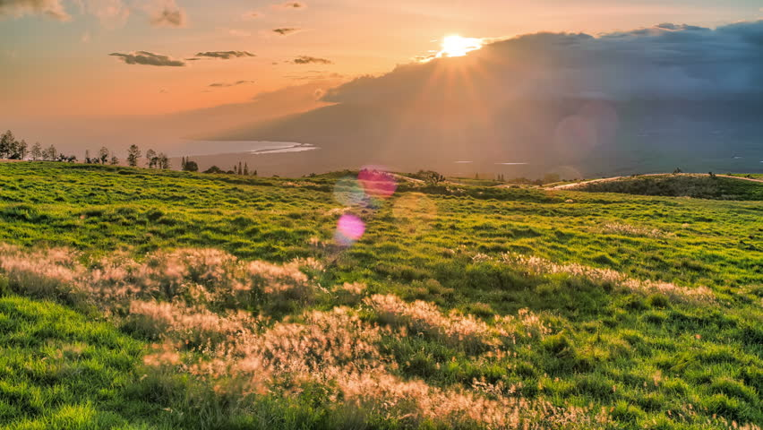 Beautiful Maui, Hawaii, Sunset Time Lapse over Green Grass Hills, HDR, 4k. UHD - 4K stock video clip